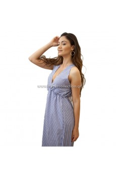 Blue White Striped MAXI ΦΟΡΕΜΑ